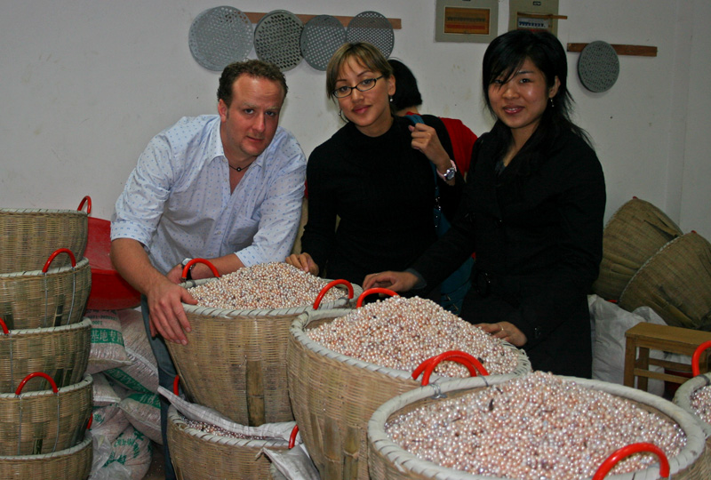 Sorting freshwater pearls in Shanxiahu, China.